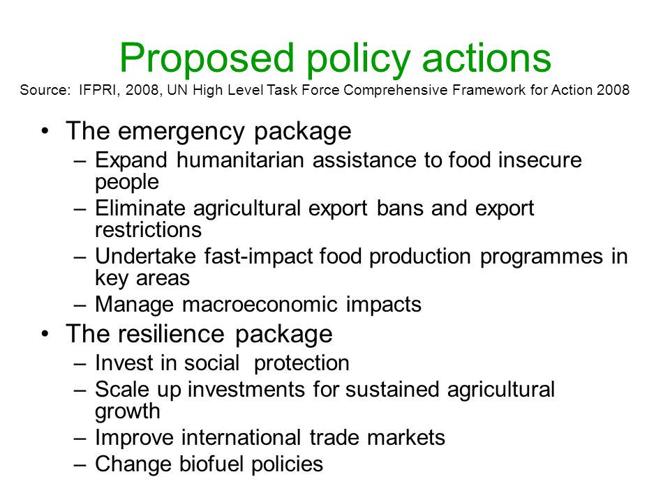 Proposed policy actions