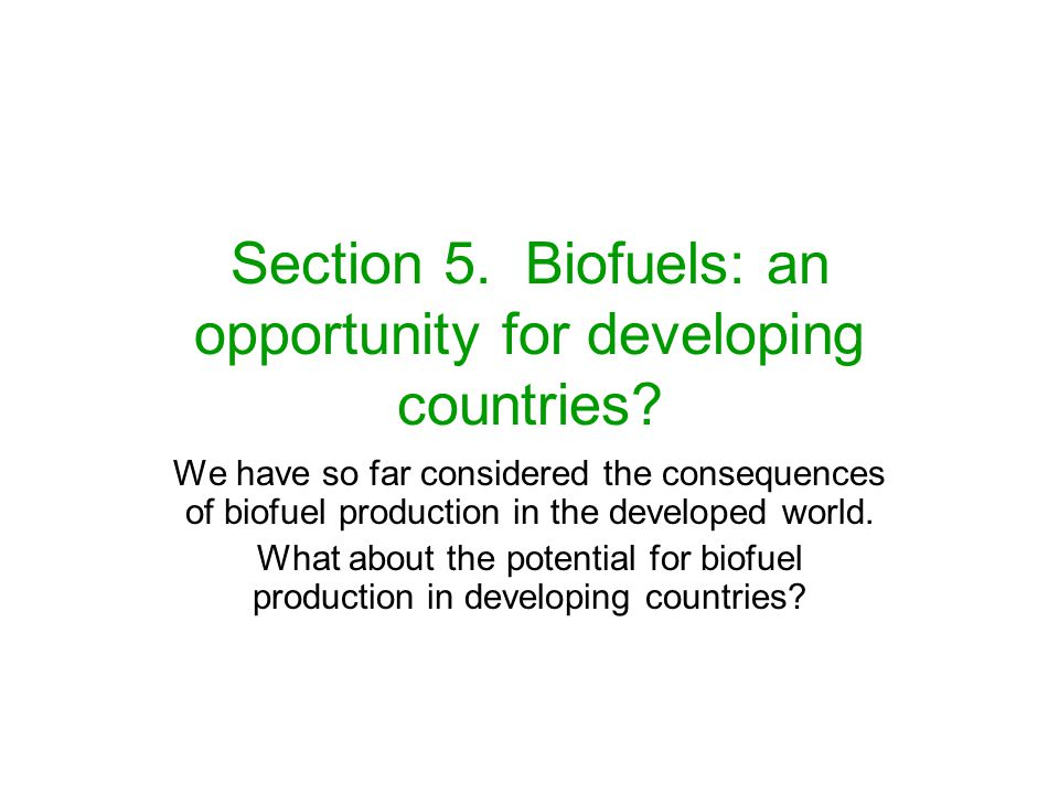 Section 5. Biofuels: an opportunity for developing countries