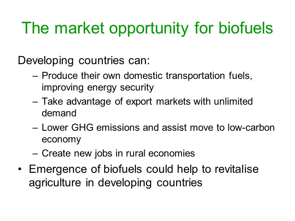 The market opportunity for biofuels