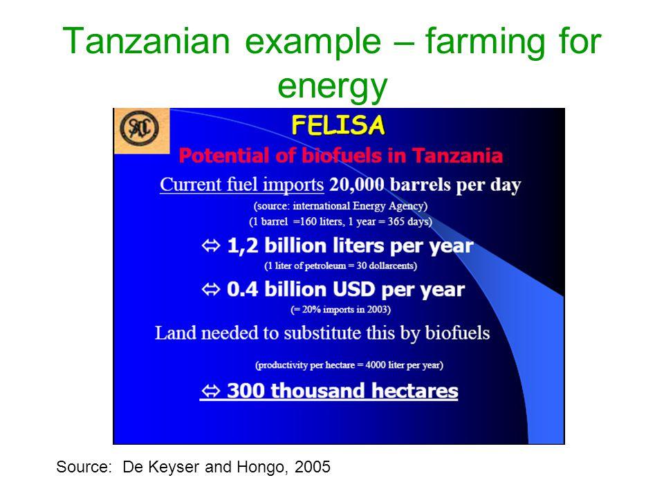 Tanzanian example – farming for energy