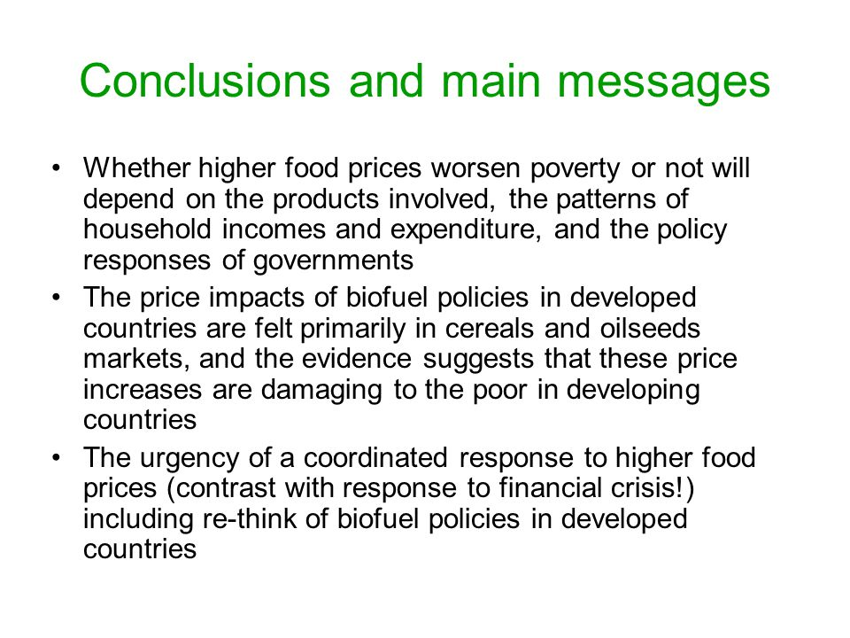 Conclusions and main messages