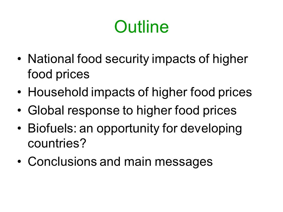 Outline National food security impacts of higher food prices