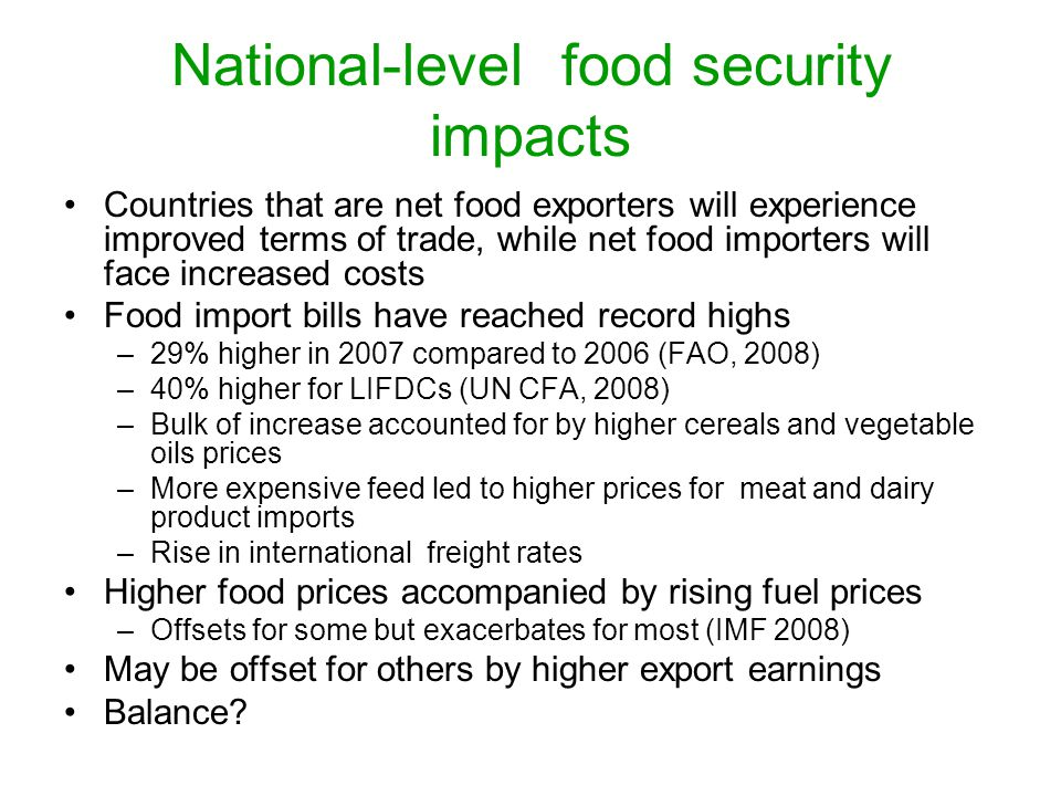 National-level food security impacts
