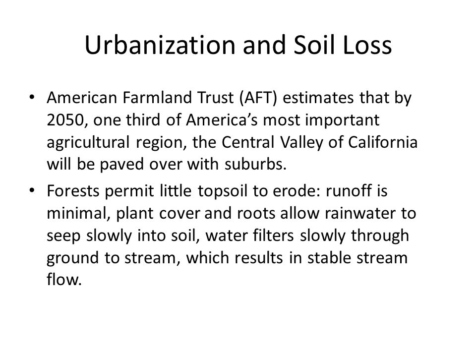 Urbanization and Soil Loss