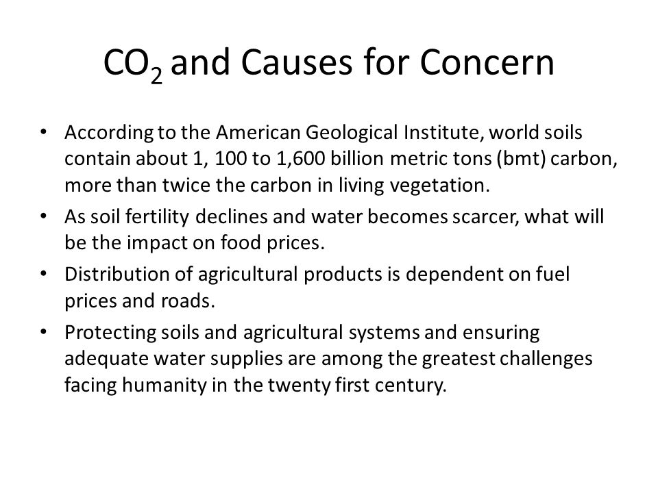 CO2 and Causes for Concern