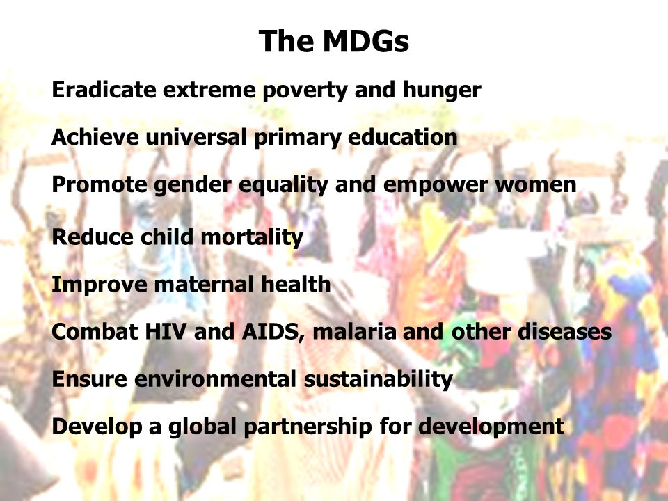 The MDGs Eradicate extreme poverty and hunger
