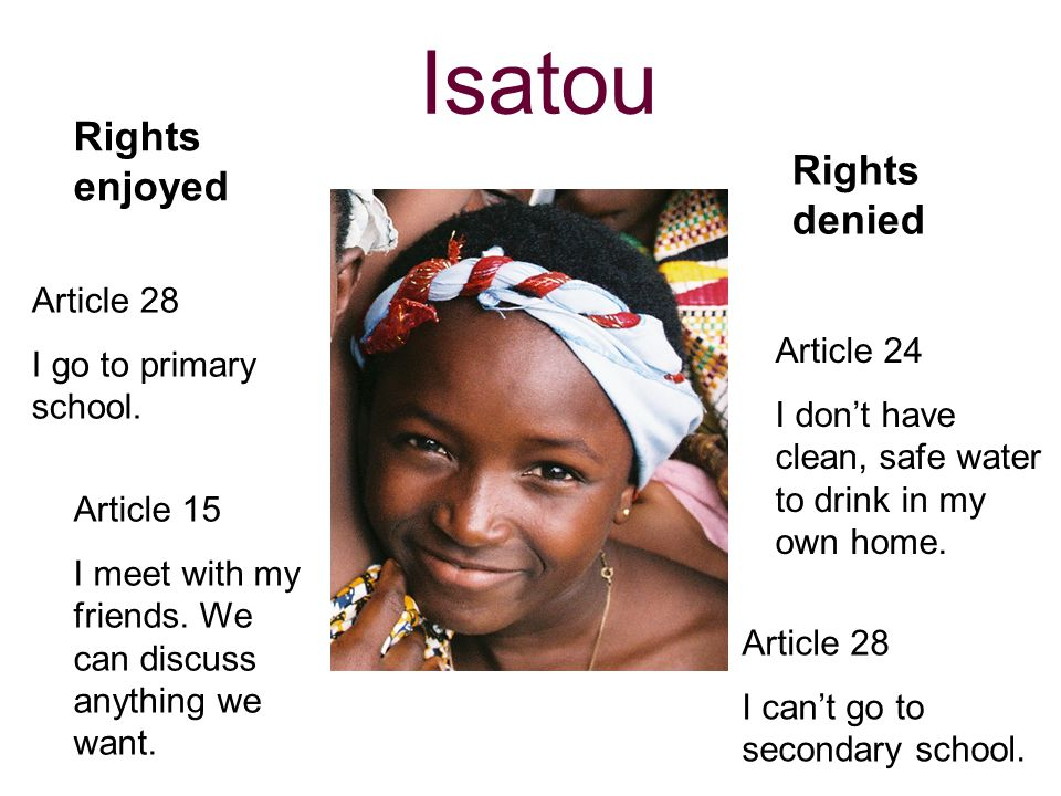 Isatou Rights enjoyed Rights denied Article 28 I go to primary school.