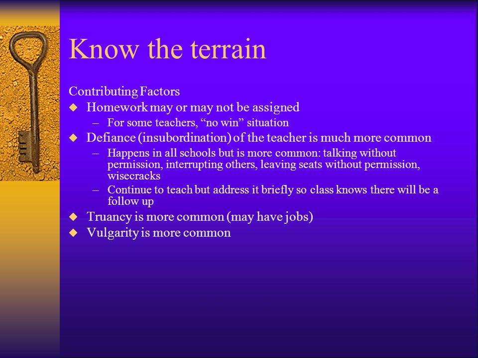 Know the terrain Contributing Factors