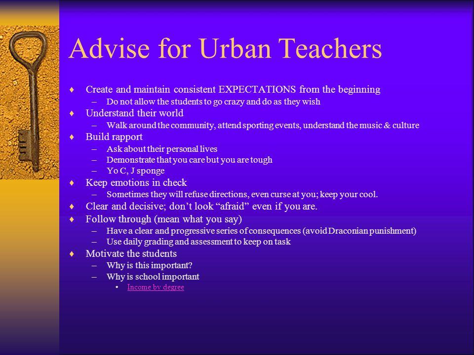 Advise for Urban Teachers