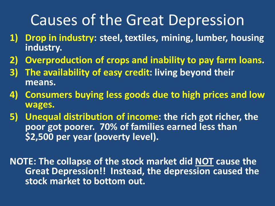 causes of great depression The great depression of the 1930s was the most important economic  of six  causes of death that compose about two-thirds of total mortality.