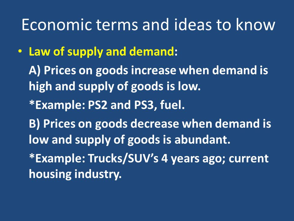Economic terms and ideas to know