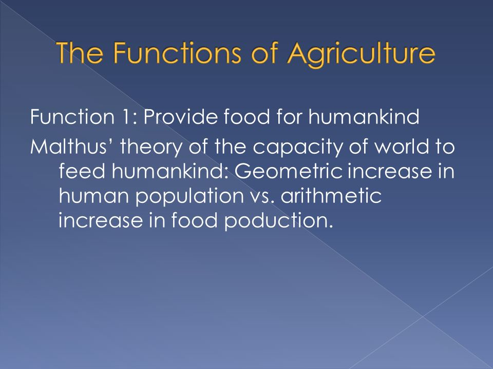 The Functions of Agriculture