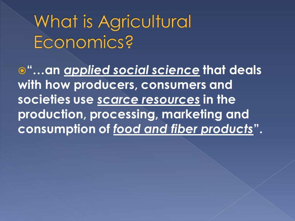 What is Agricultural Economics