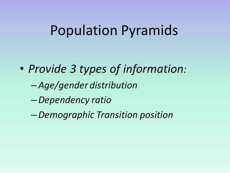 Population Pyramids Provide 3 types of information: