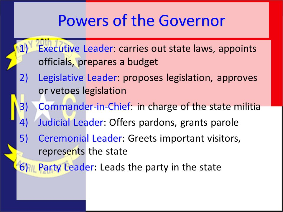 Powers of the Governor Executive Leader: carries out state laws, appoints officials, prepares a budget.