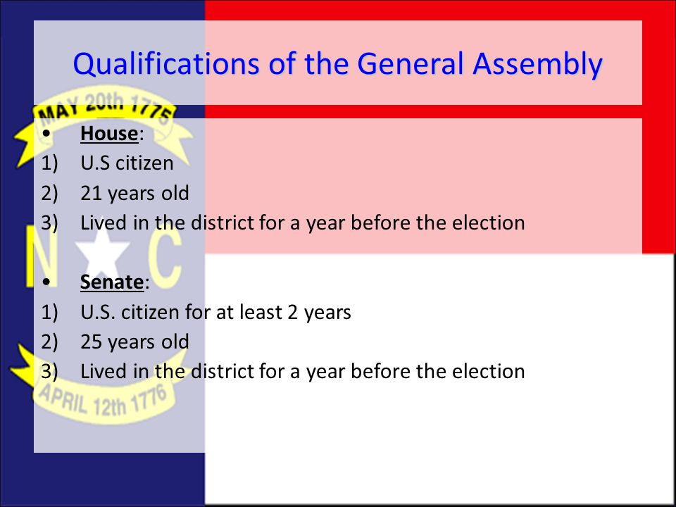 Qualifications of the General Assembly
