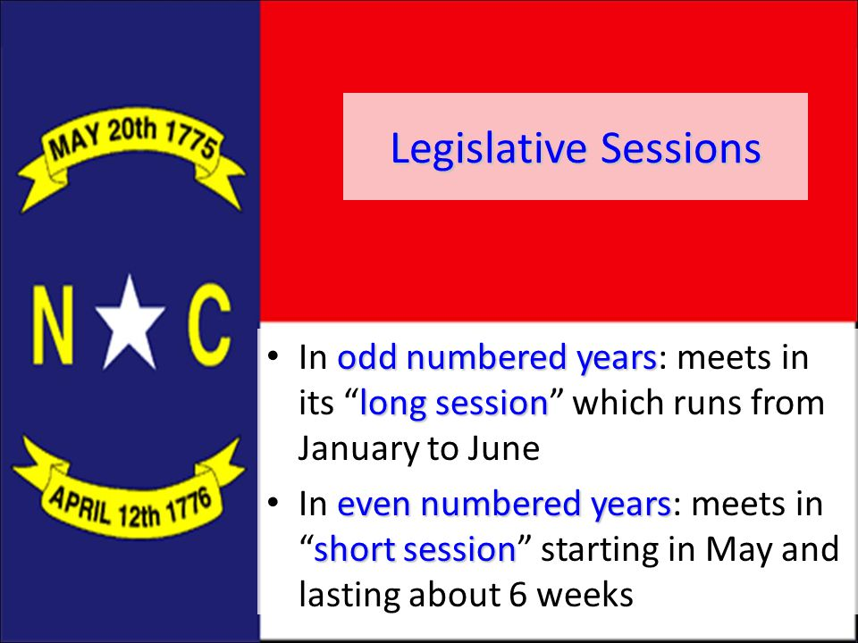 Legislative Sessions In odd numbered years: meets in its long session which runs from January to June.