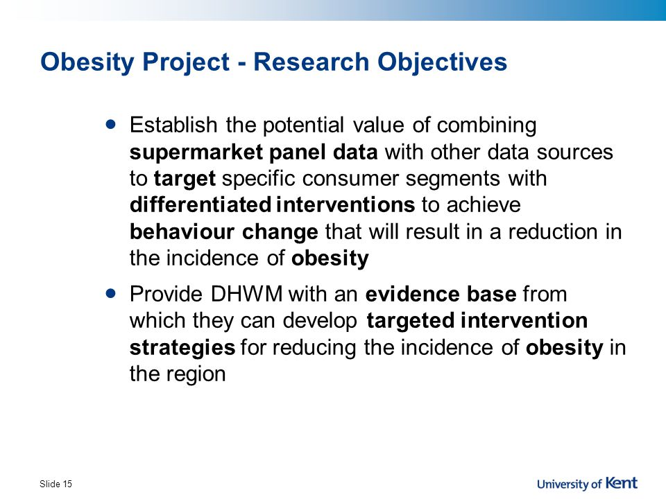 Obesity Project - Research Objectives