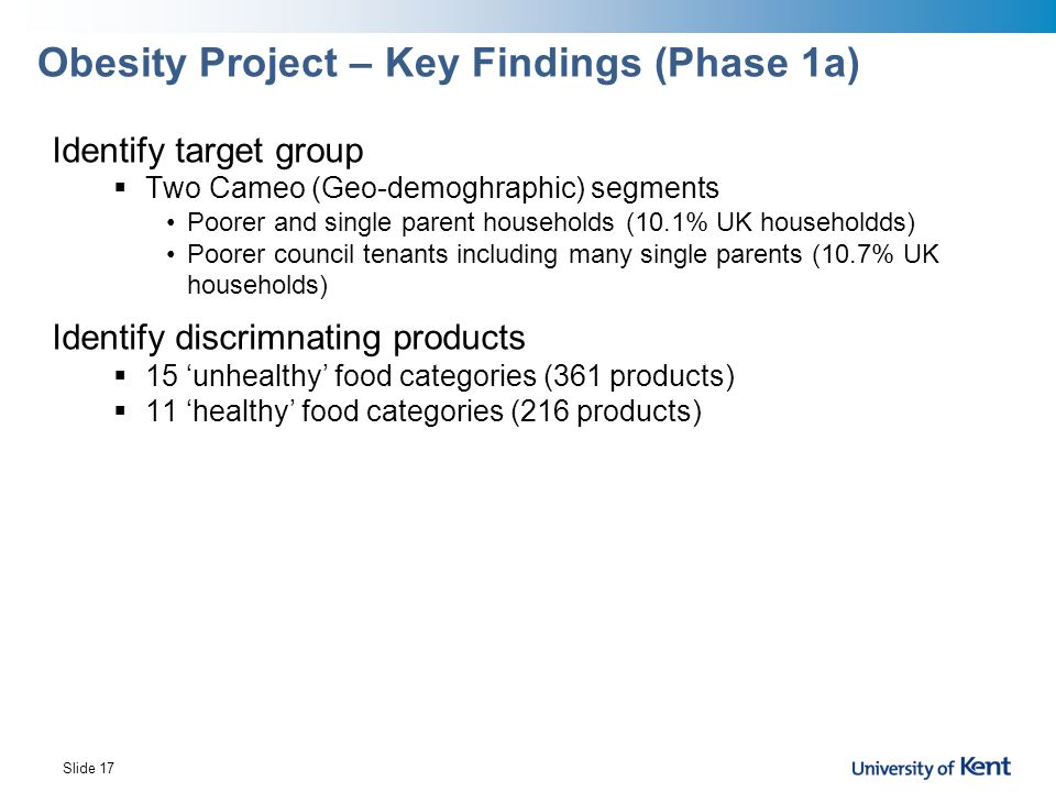 Obesity Project – Key Findings (Phase 1a)