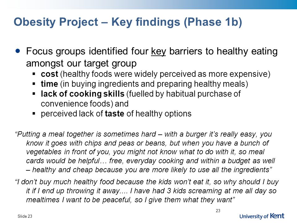 Obesity Project – Key findings (Phase 1b)