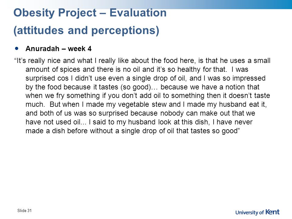 Obesity Project – Evaluation (attitudes and perceptions)