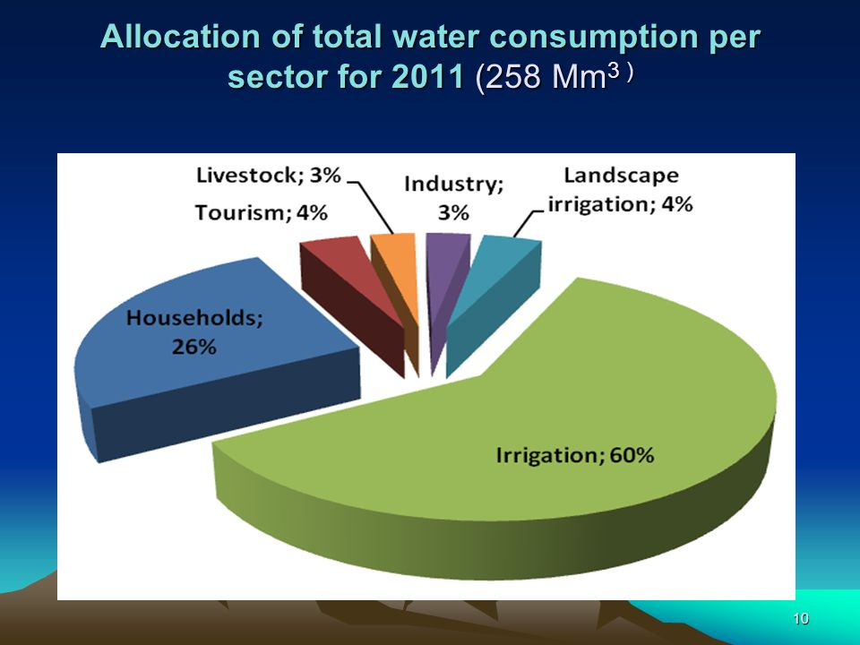 Allocation of total water consumption per sector for 2011 (258 Mm3 )