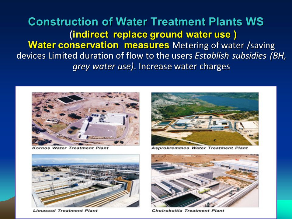 Construction of Water Treatment Plants WS (indirect replace ground water use ) Water conservation measures Metering of water /saving devices Limited duration of flow to the users Establish subsidies (BH, grey water use).