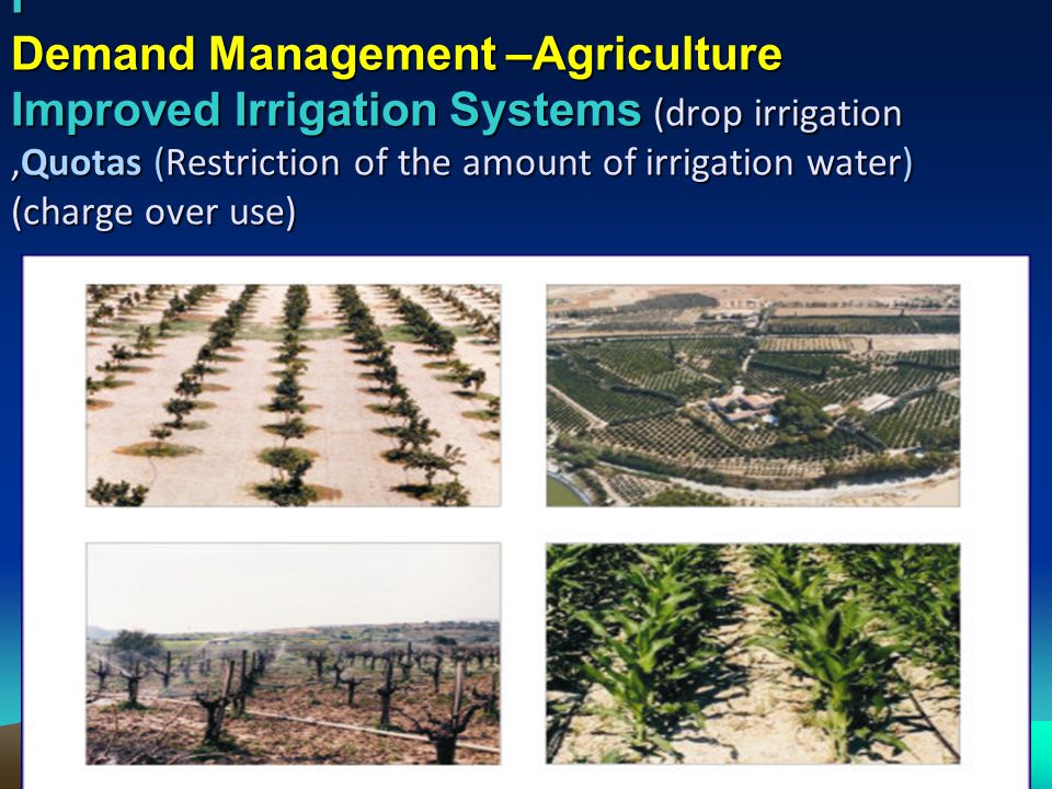 I Demand Management –Agriculture Improved Irrigation Systems (drop irrigation ,Quotas (Restriction of the amount of irrigation water) (charge over use)
