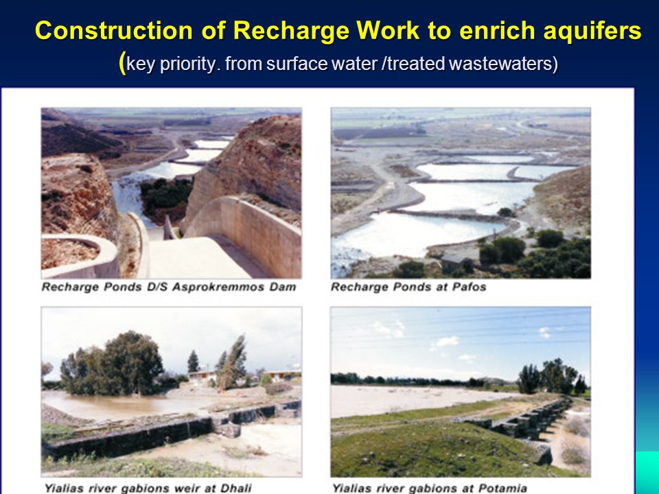 Construction of Recharge Work to enrich aquifers (key priority
