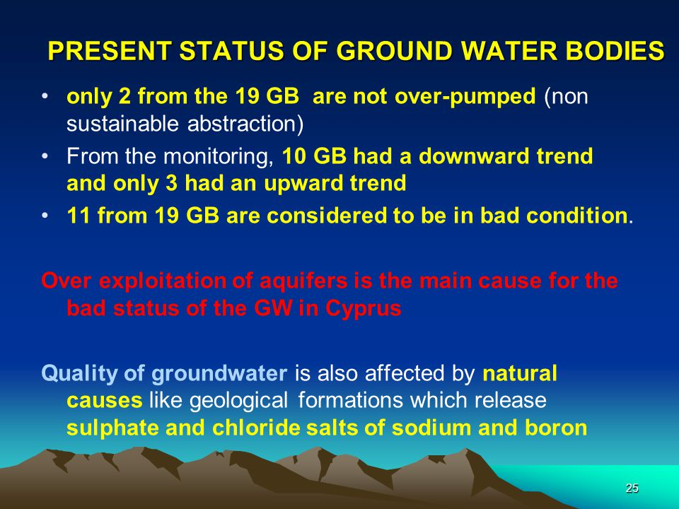 PRESENT STATUS OF GROUND WATER BODIES