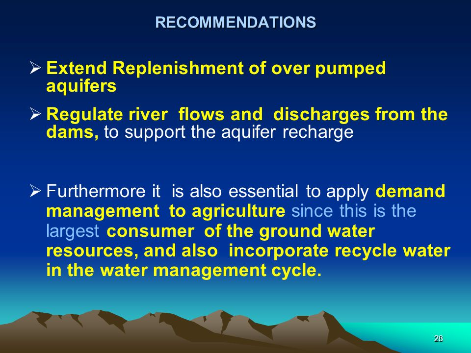 Extend Replenishment of over pumped aquifers