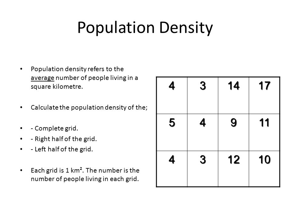 Population Density Population density refers to the average number of people living in a square kilometre.