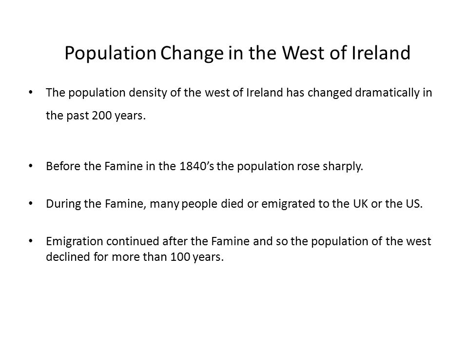 Population Change in the West of Ireland