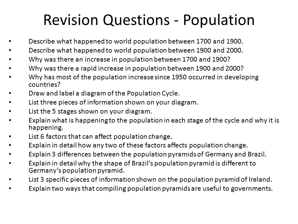 Revision Questions - Population