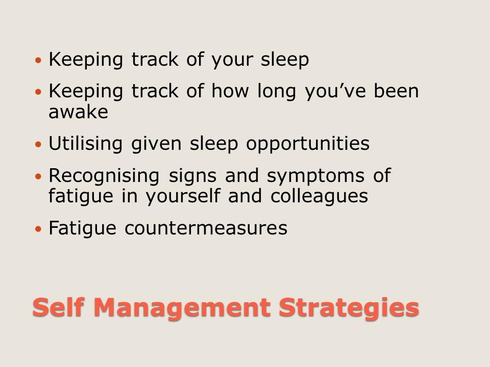 Self Management Strategies