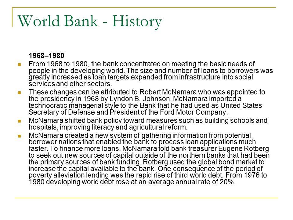 World Bank - History 1968–1980.