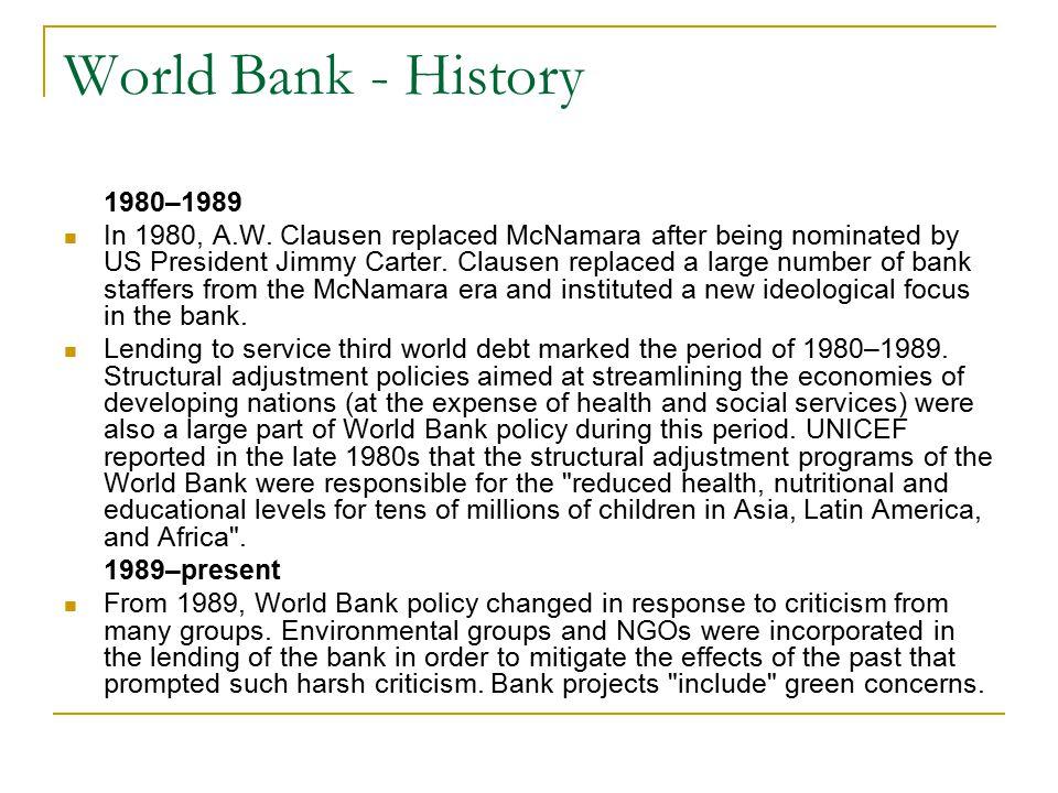 World Bank - History 1980–1989.