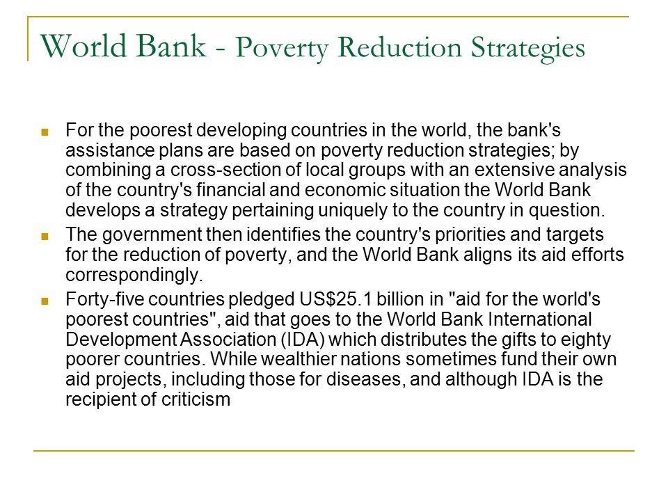 World Bank - Poverty Reduction Strategies