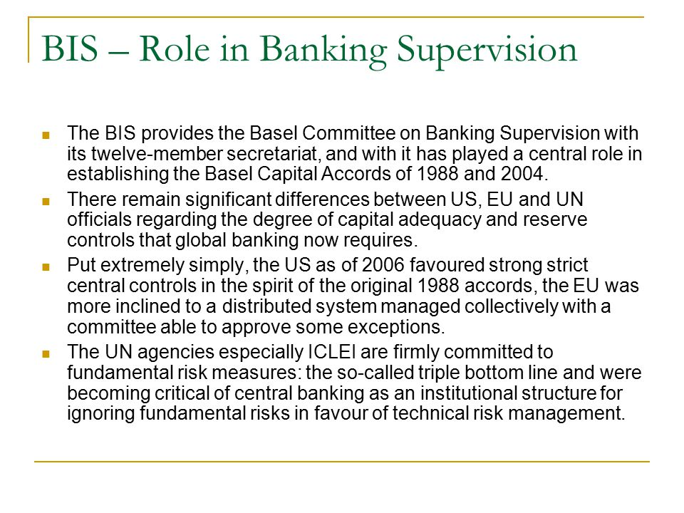 BIS – Role in Banking Supervision