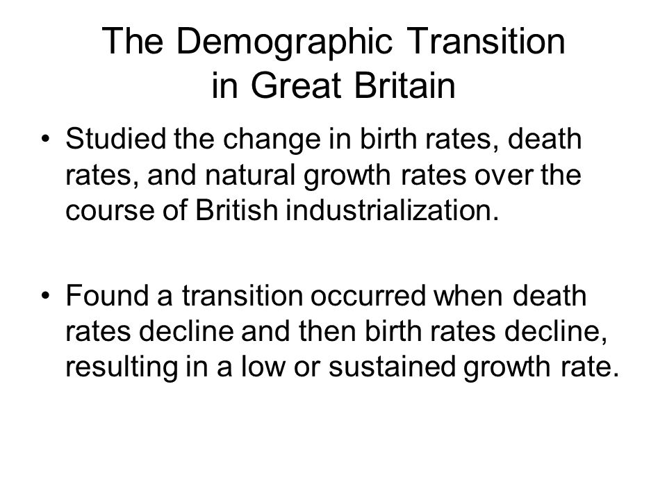 The Demographic Transition in Great Britain