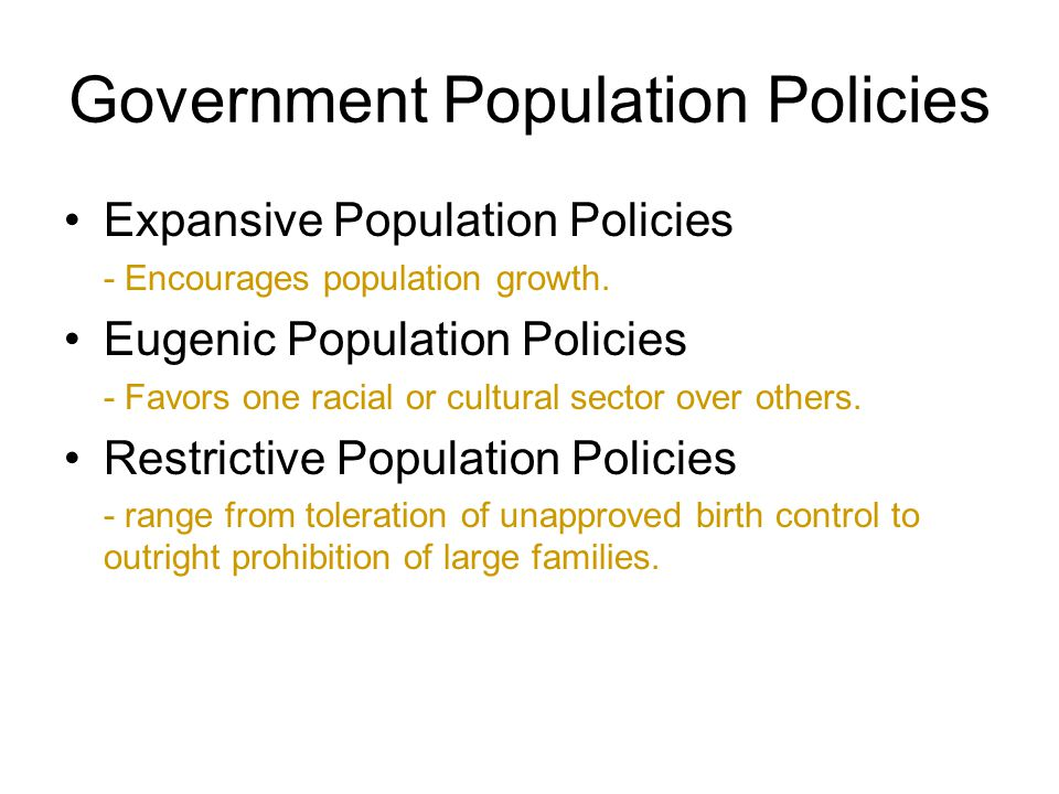 Government Population Policies