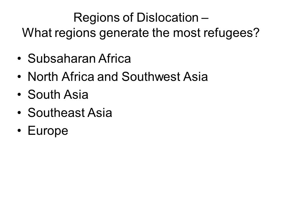 Regions of Dislocation – What regions generate the most refugees