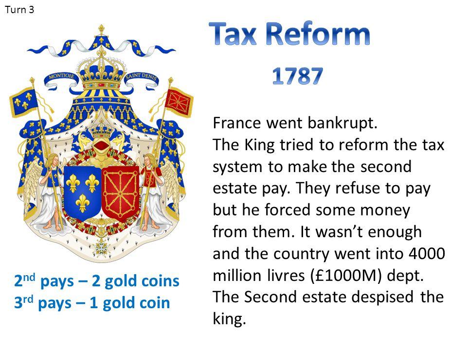 Tax Reform 1787 France went bankrupt.