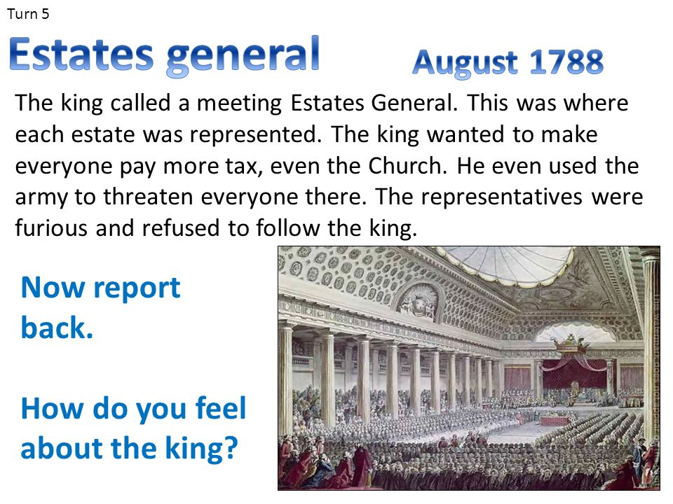 Estates general August 1788 Now report back.