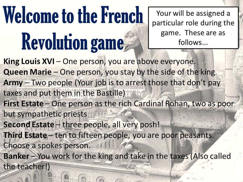 Welcome to the French Revolution game