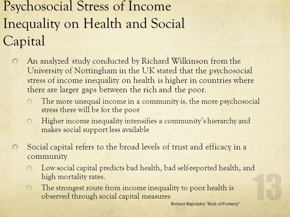 Psychosocial Stress of Income Inequality on Health and Social Capital