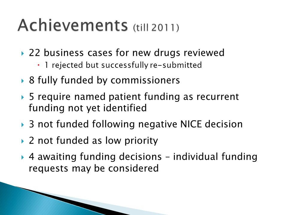 Achievements (till 2011) 22 business cases for new drugs reviewed