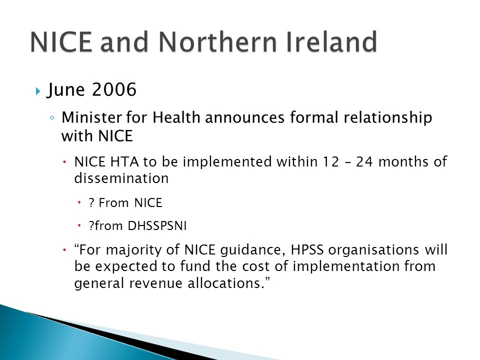 NICE and Northern Ireland