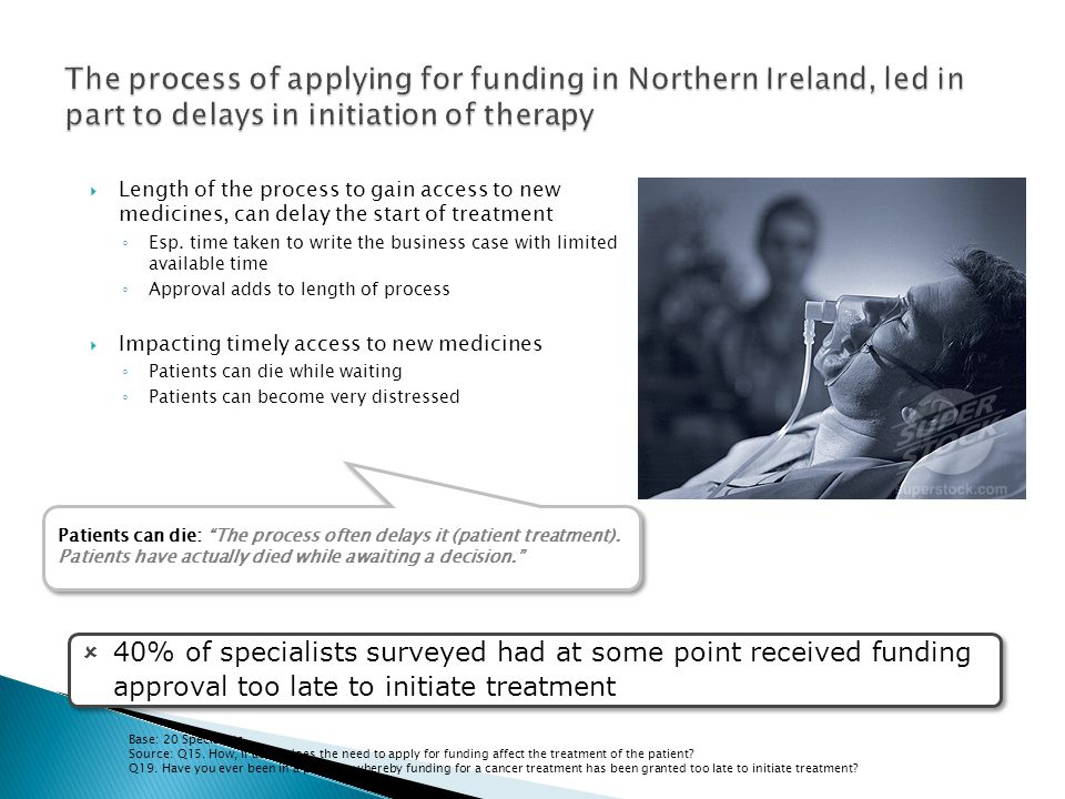 The process of applying for funding in Northern Ireland, led in part to delays in initiation of therapy