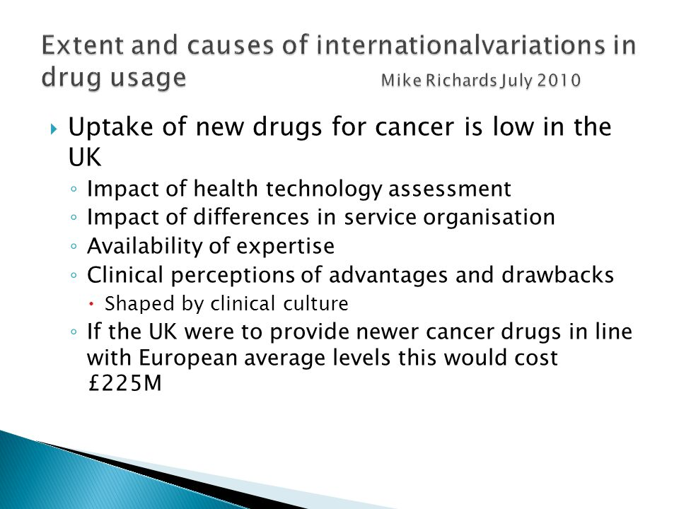 Extent and causes of internationalvariations in drug usage